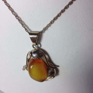 Large Milky Amber Pendant