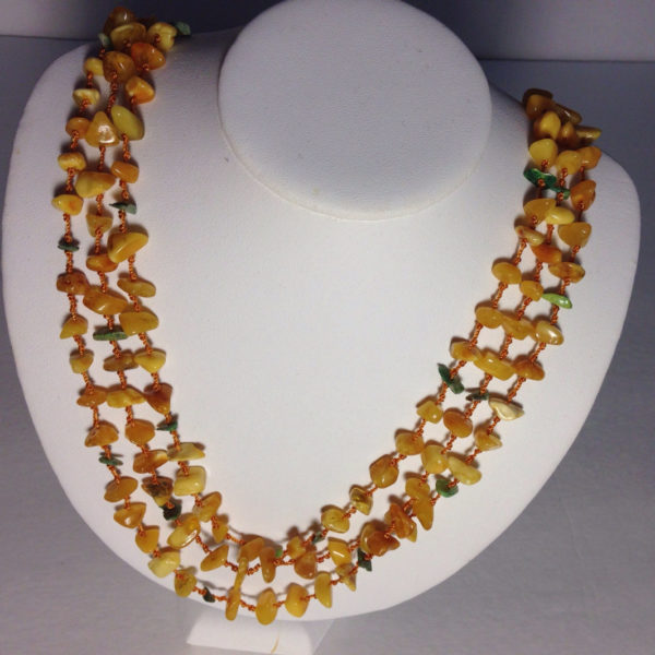 Multi-Strand Milky Amber Necklace