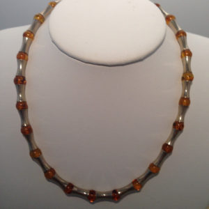 Vintage Sterling & Amber Necklace