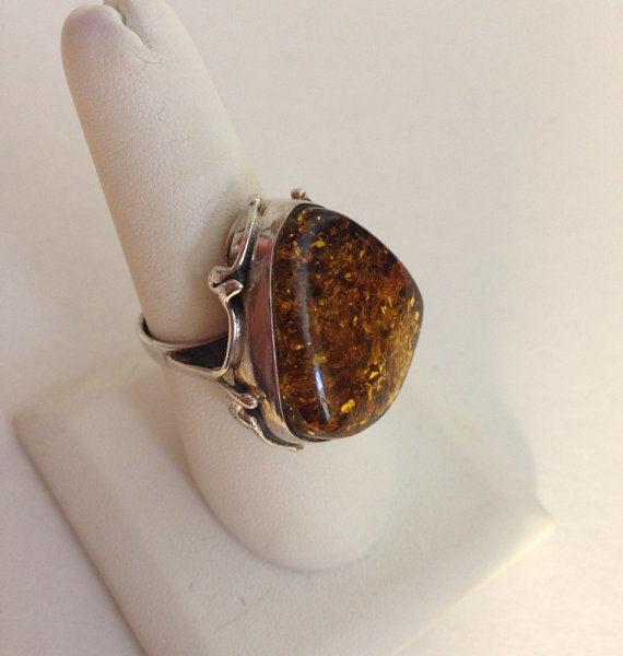 Large Statement Amber Ring