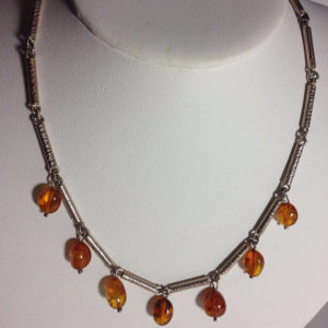 Vintage Sterling & Amber Drop Necklace