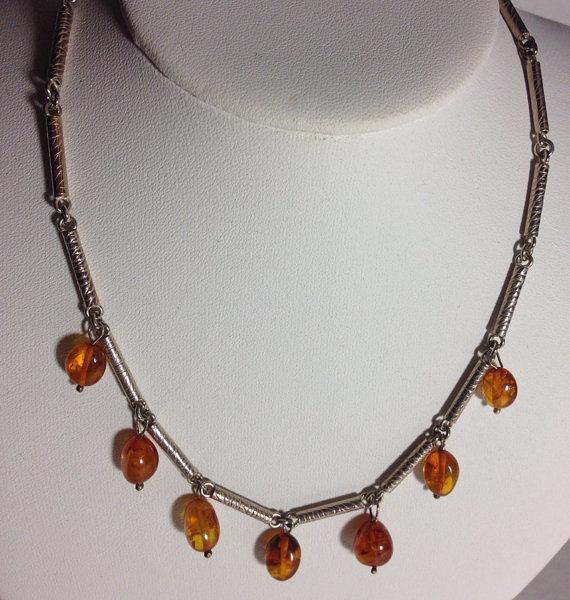 Vintage Sterling & Amber Drop Necklace