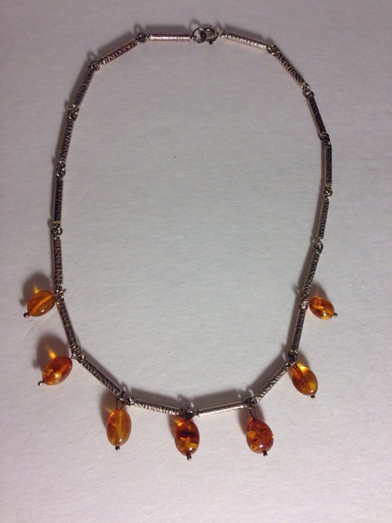 Vintage Sterling Silver Amber Bead Station Y Drop Choker Necklace PP58