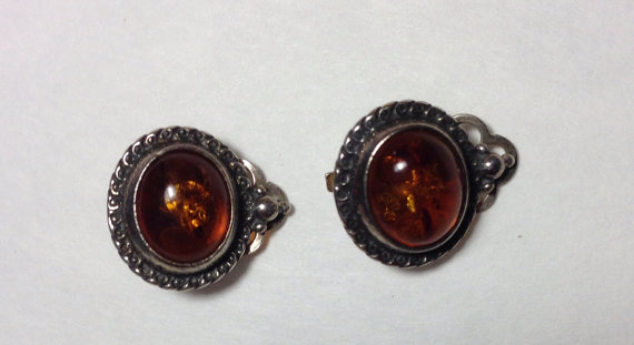Vintage Clip on Baltic Amber Earrings