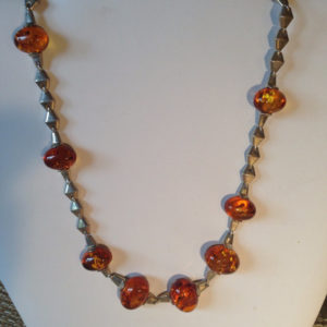 Unique Baltic Amber & Sterling Silver Necklace