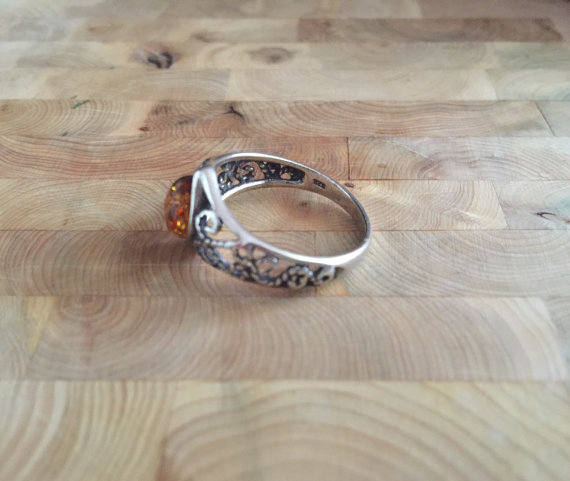 Beautiful Cutout Sterling Silver & Baltic Amber Ring