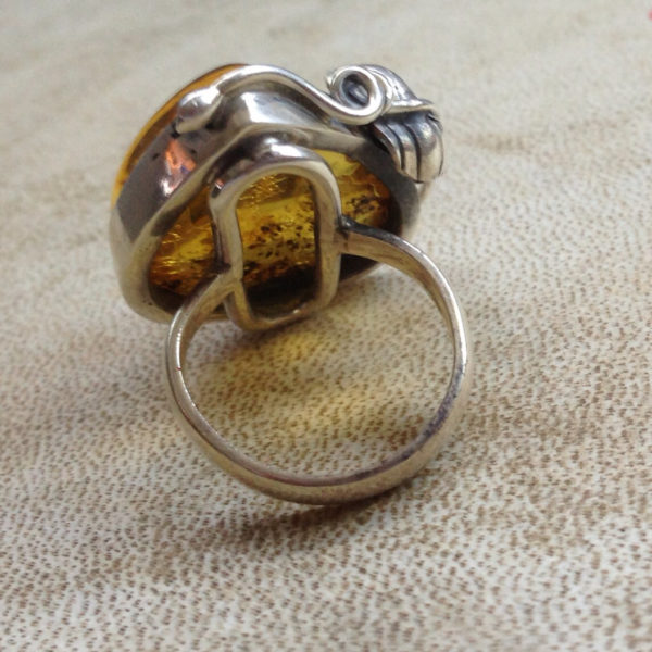 Statement Baltic Amber Ring 7.5