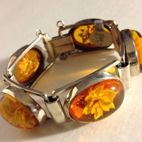 Engraved Baltic Amber Bracelet