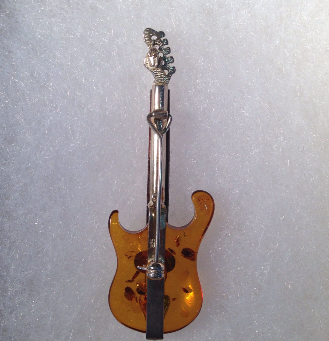 Sterling Silver Amber Guitar Brooch