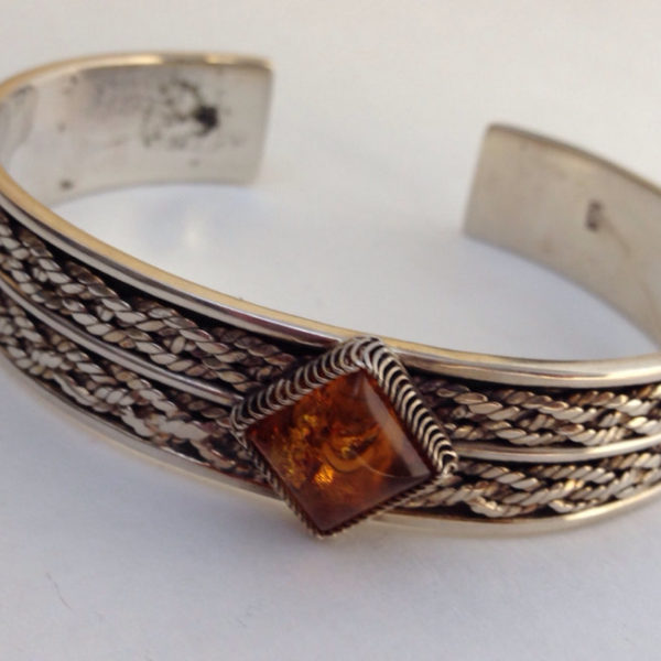 Adjustable Sterling Silver & Amber Bracelet