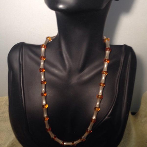Vintage Sterling & Amber Necklace